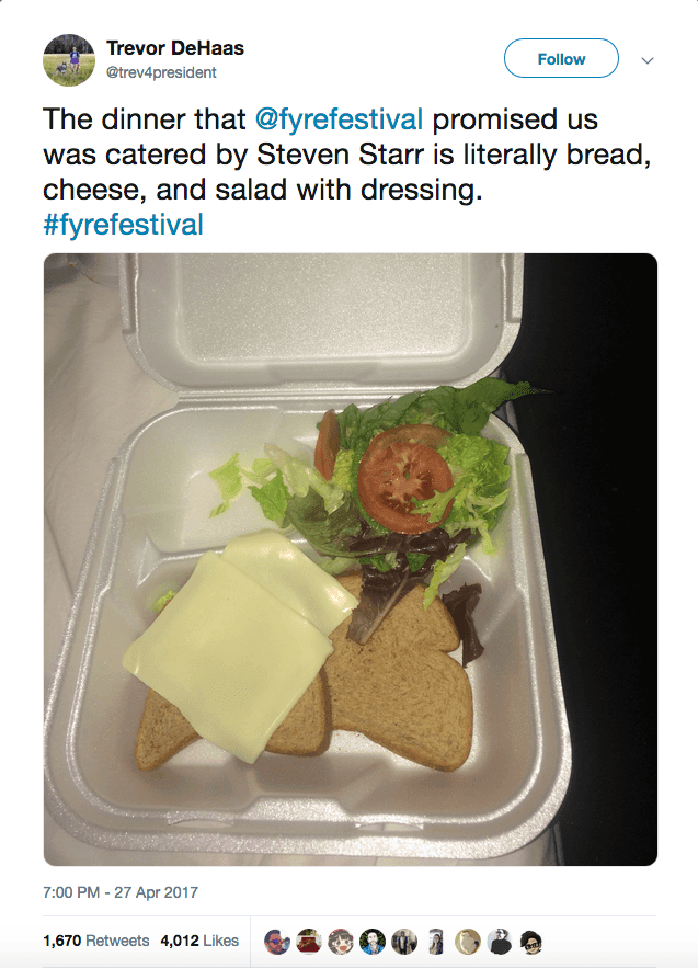 Fyre Festival terrible food