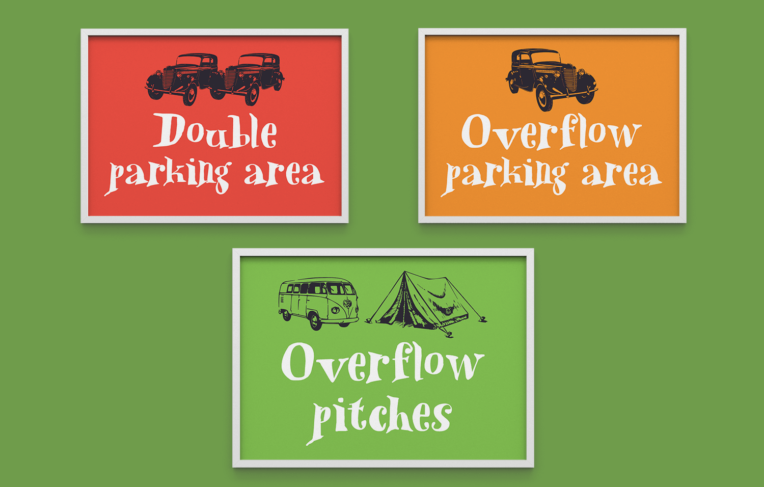 Mad Hatters Campsite parking signs