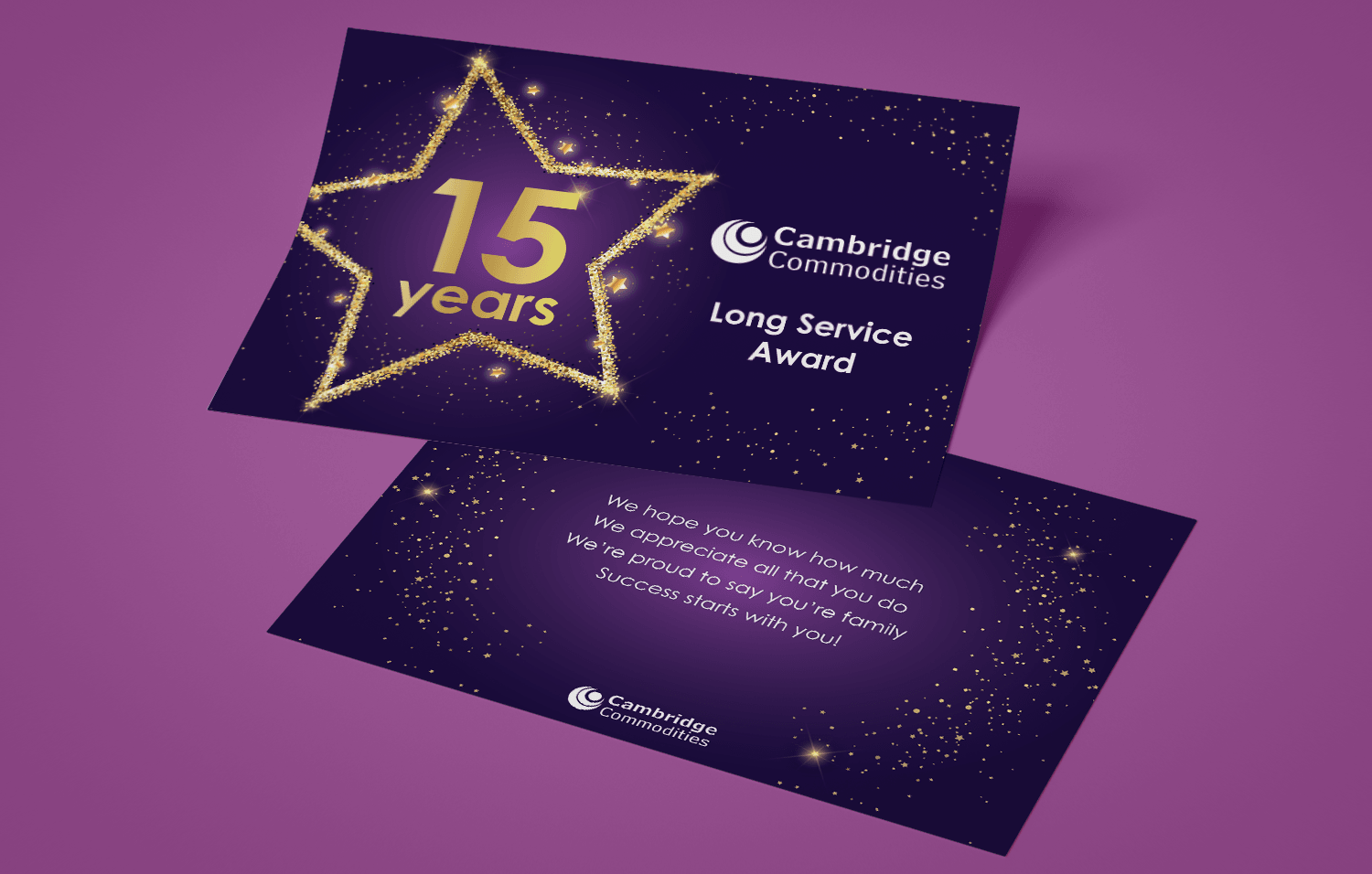 Cambridge Commodities Long service award