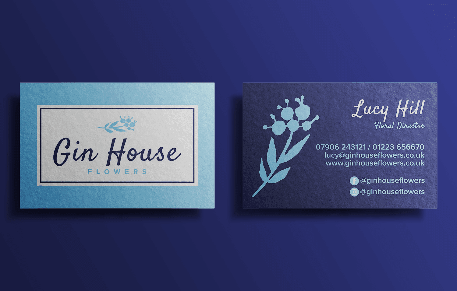 Gin House Flowers logo business cards