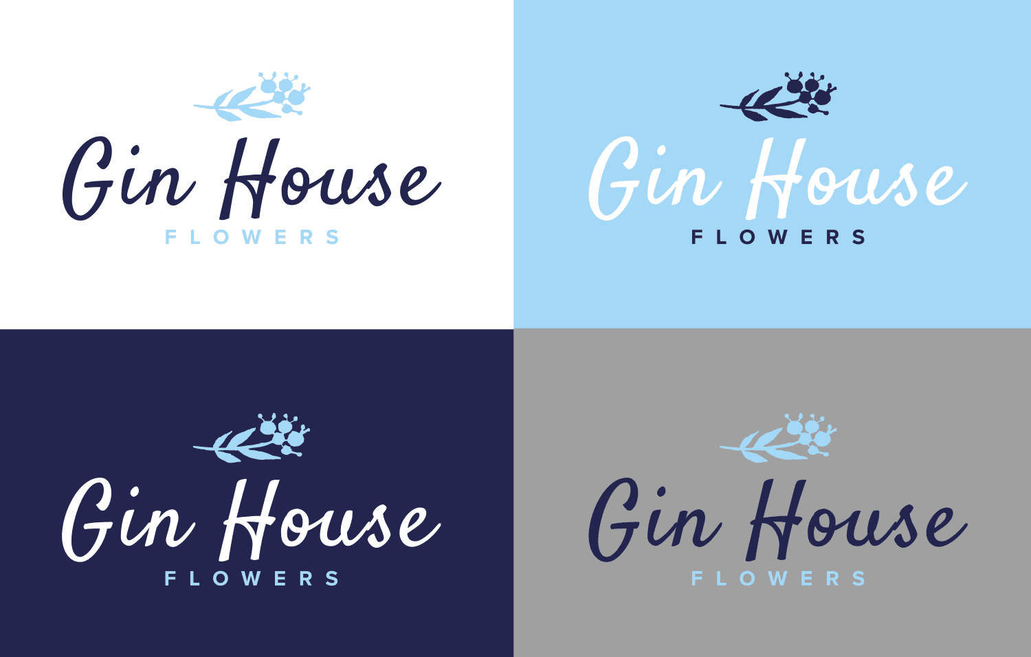 Gin House Flowers logo 4-way