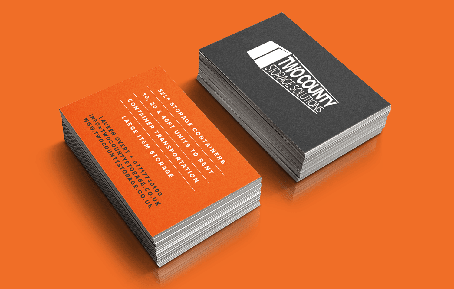 Two County Storage business cards