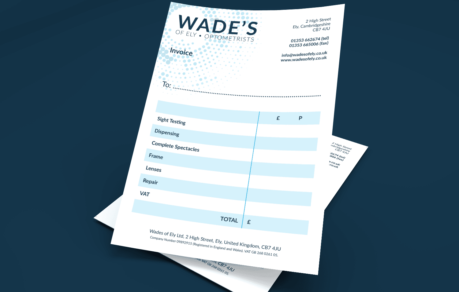 Wades of Ely invoice slips